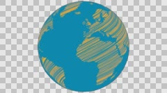 2D Globe Rotate Wiggle Scribble 005 Stock Footage