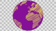 2D Globe Rotate Static Scribble 002 Stock Footage