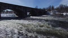4k aerial rapids pass under bridge low angle - stock footage