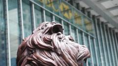 Lion statue at the entrance of HSBC Bank Hong Kong. Stock Footage
