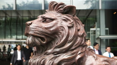 Lion statue at the entrance of HSBC Bank Hong Kong. Stock Footage