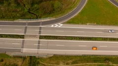 Highway with exit viewed from the air - Aerial view Stock Footage