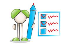 Big Pen Cartoon Characters and Check List - stock illustration