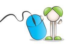 Big Wired Mouse and Cartoon Characters - stock illustration