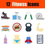 Flat design fitness icon set Stock Illustration