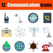 Flat design communication icon set - stock illustration