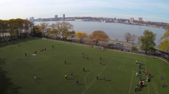 Soccer Field Aerial With Soccer Players In New York Riverside Park Stock Footage