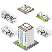 Residential house with apartments in a cut Stock Illustration