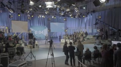TV Studio during the recording of the broadcast. Media. Press Stock Footage