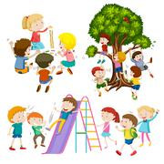 Children playing game and having fun Stock Illustration