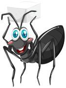 Black ant holding sugar cube - stock illustration