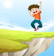 Boy jumping on the cliff Stock Illustration