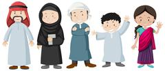Muslim men and women with happy face Piirros