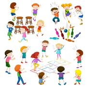 Children play different kind of games - stock illustration