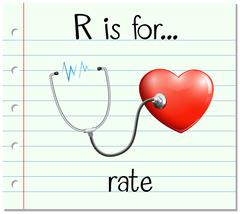 Flashcard letter R is for rate - stock illustration