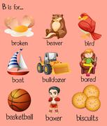 Different words begin with letter B Stock Illustration