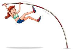 Woman athelete doing pole vault Stock Illustration