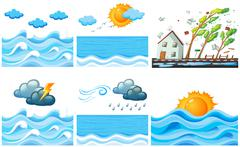 Different scene with climate changes Stock Illustration