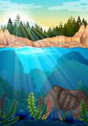 Scene with pine trees and underwater - stock illustration