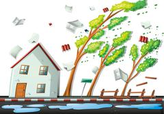 Heavy storm in the city - stock illustration