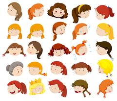 Different faces of women and girls Stock Illustration