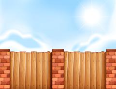 Scene with wooden fence - stock illustration