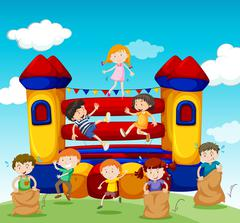Children playing at the bouncing house - stock illustration