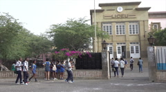 Praia, Cape Verde Islands, school children at Liceu Stock Footage