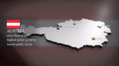 3D animated Map of Austria Stock Footage