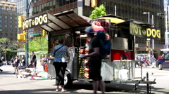People buying hot dog at street of downtown Vancouver Stock Footage