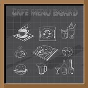 Hand drawn cafe menu board signs and food collection on chalkboard Piirros