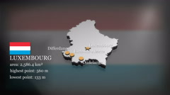 3D animated Map of Luxembourg Stock Footage