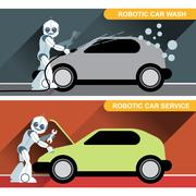Silver humanoid robots fixing and washing cars with tools at an auto service. - stock illustration