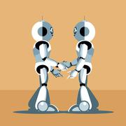 Two silver humanoid robots shaking hands. Digital background vector. - stock illustration