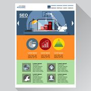 Seo agency web site theme layout. Digital background vector illustration. Stock Illustration