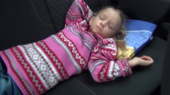 4K Tired Little Girl Asleep in Car, Sleeping Child Traveling, Trip, Voyage View Arkistovideo