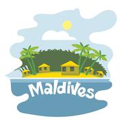 Maldives flyer with the beach and palm trees - stock illustration