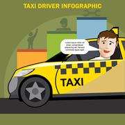 Public taxi cab driver presenting infographics - stock illustration