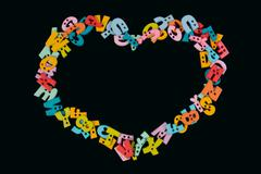 I love you phrase written by plastic colorful letters on blackboard. Stock Photos