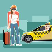 A girl tourist with luggage catching a taxi cab - stock illustration