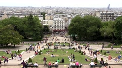 4K Timelapse People Tourists Traveling Sacre Coeur Montmatre Paris View Church Stock Footage