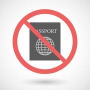 Forbidden vector signal with   a passport Stock Illustration