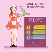 Waitress girl in red wearing cook with a cocktail in a pink restaurant. - stock illustration