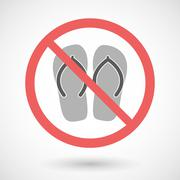 Forbidden vector signal with    a pair of flops - stock illustration