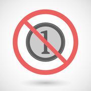 Forbidden vector signal with   a coin icon - stock illustration