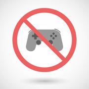 Forbidden vector signal with   a game pad - stock illustration