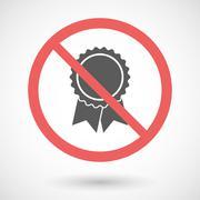 Forbidden vector signal with   a ribbon award - stock illustration