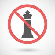 Forbidden vector signal with  a  king   chess figure - stock illustration