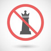 Forbidden vector signal with  a  queen   chess figure - stock illustration