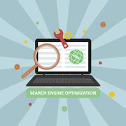 Search engine optimization vector illustration with laptop and icons in the m - stock illustration